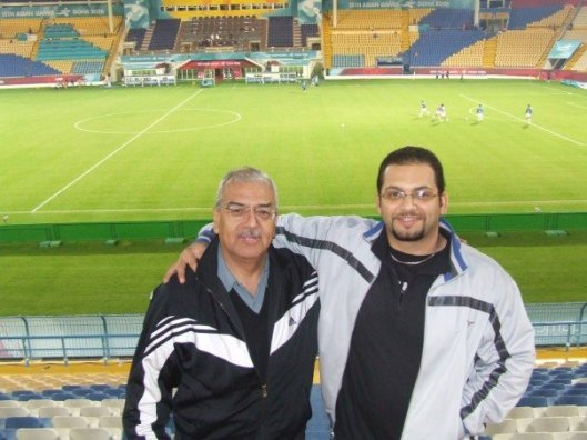 wo of my collogues at the time, Mike Fahim and Guillermo Mendoza watching a football match in Gharafa