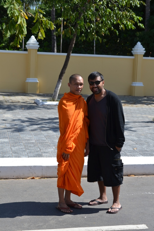 Myself and a Monk just outside the Palace