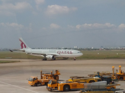 Qatar Airways Flight Landing in Phnom Penh