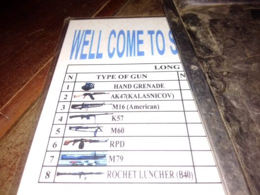 Menu at the Shooting Range