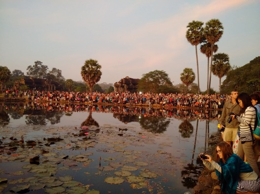 Crowds for the sunrise at the Angkor Wat temple