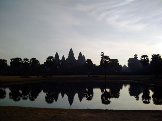 The famous shot of Angkor Wat temple against the reflection of the lake