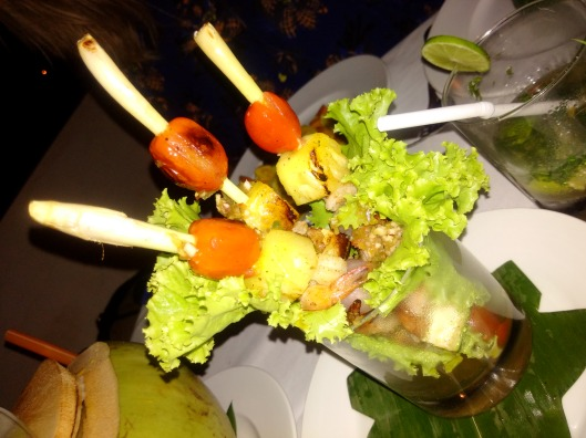 Prawn skewers on bamboo