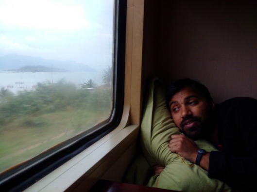 Trying to sleep on the train to Hoi An