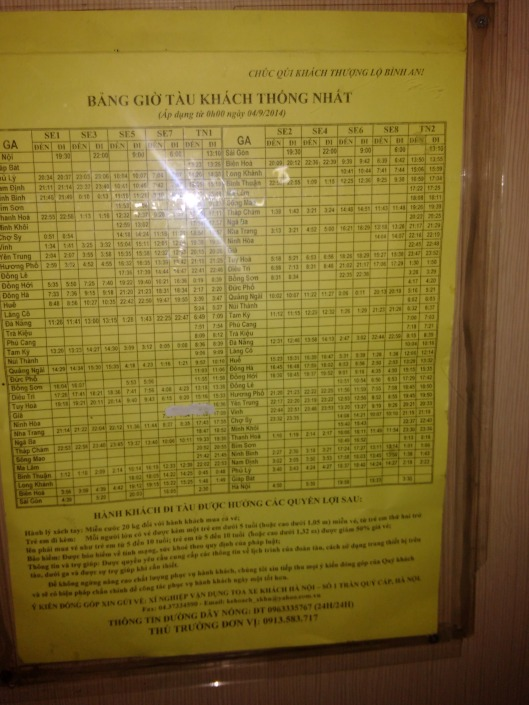 Train times from Saigon to Hanoi