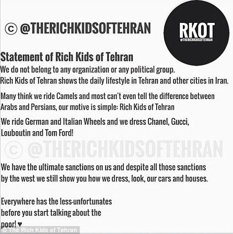 Statement by Rich Kids of Tehran