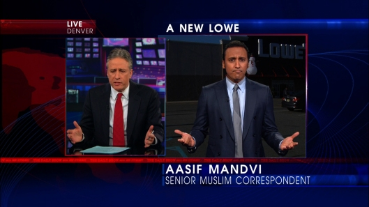 Aasif Mandvi and Jon Stewart