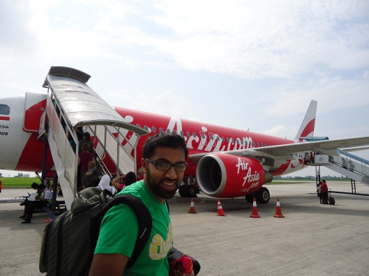 Boarding a flight to Bali
