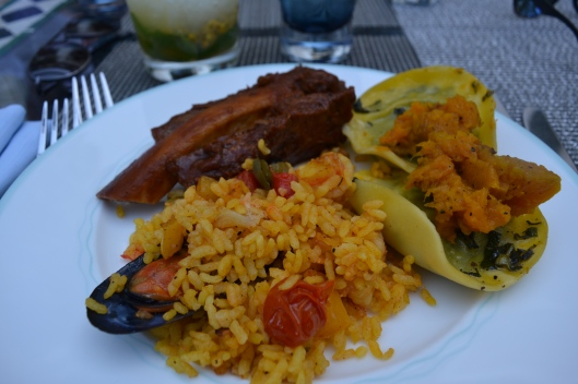 Three of my favourite items on one plate, Paella, Pumpkin+Spinach Ravioli, and Beef Ribs