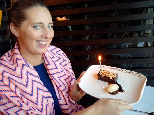 Belated Birthday Girl - as it was Charlottes belated birthday meal, the restaurant offered to give a small cake, though the gesture was nice, I was slightly surprised that they charged for this when many restaurants in the fine dinning category would do offer it complementary.