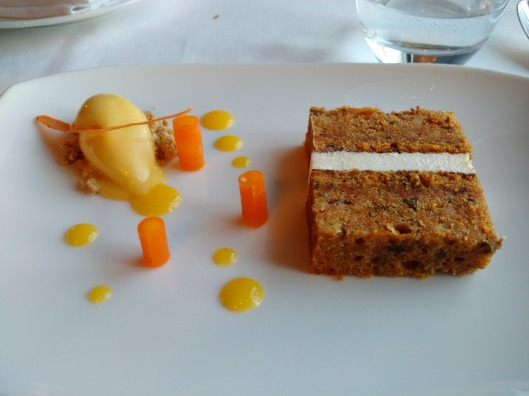 Carrot Cake, Confit Orange Sorbet, Confit Carrot, - a simple desert that is difficult to get wrong, it doesn't wow you, but it doesn't disappoint you either.