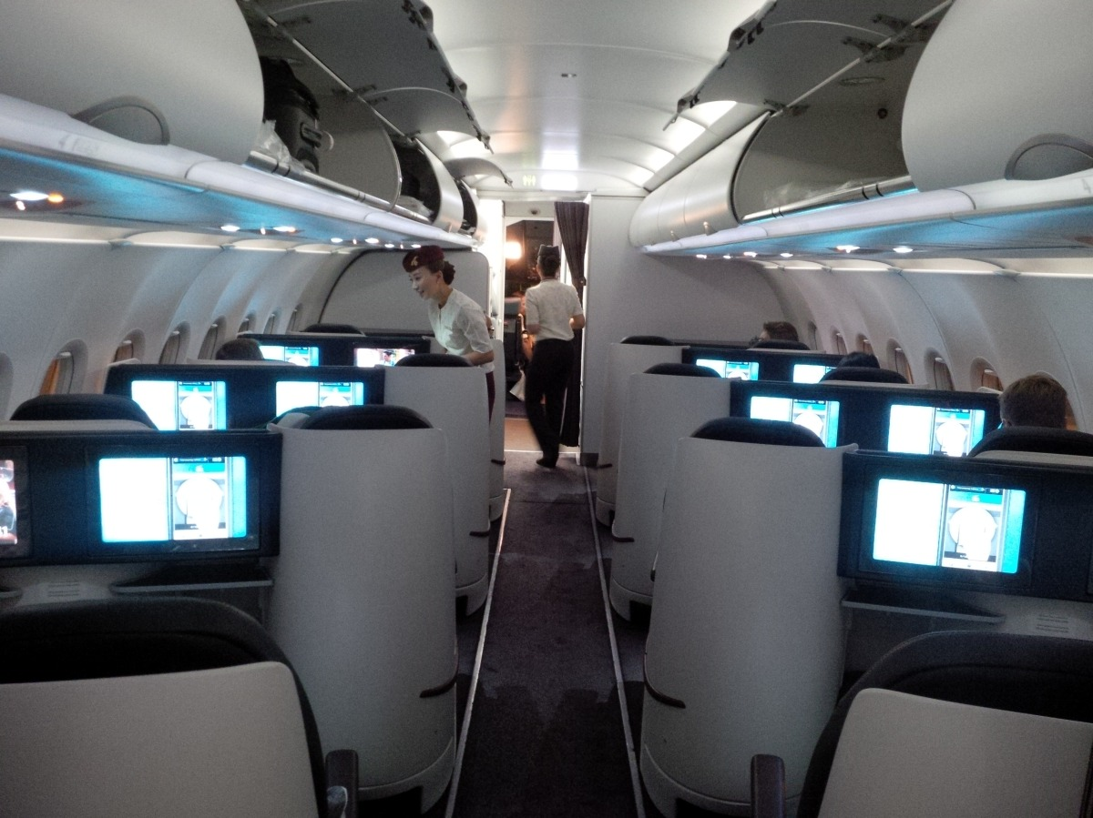 qatar airways a319 all business class flight between london and doha stormy 39 s tick box. Black Bedroom Furniture Sets. Home Design Ideas